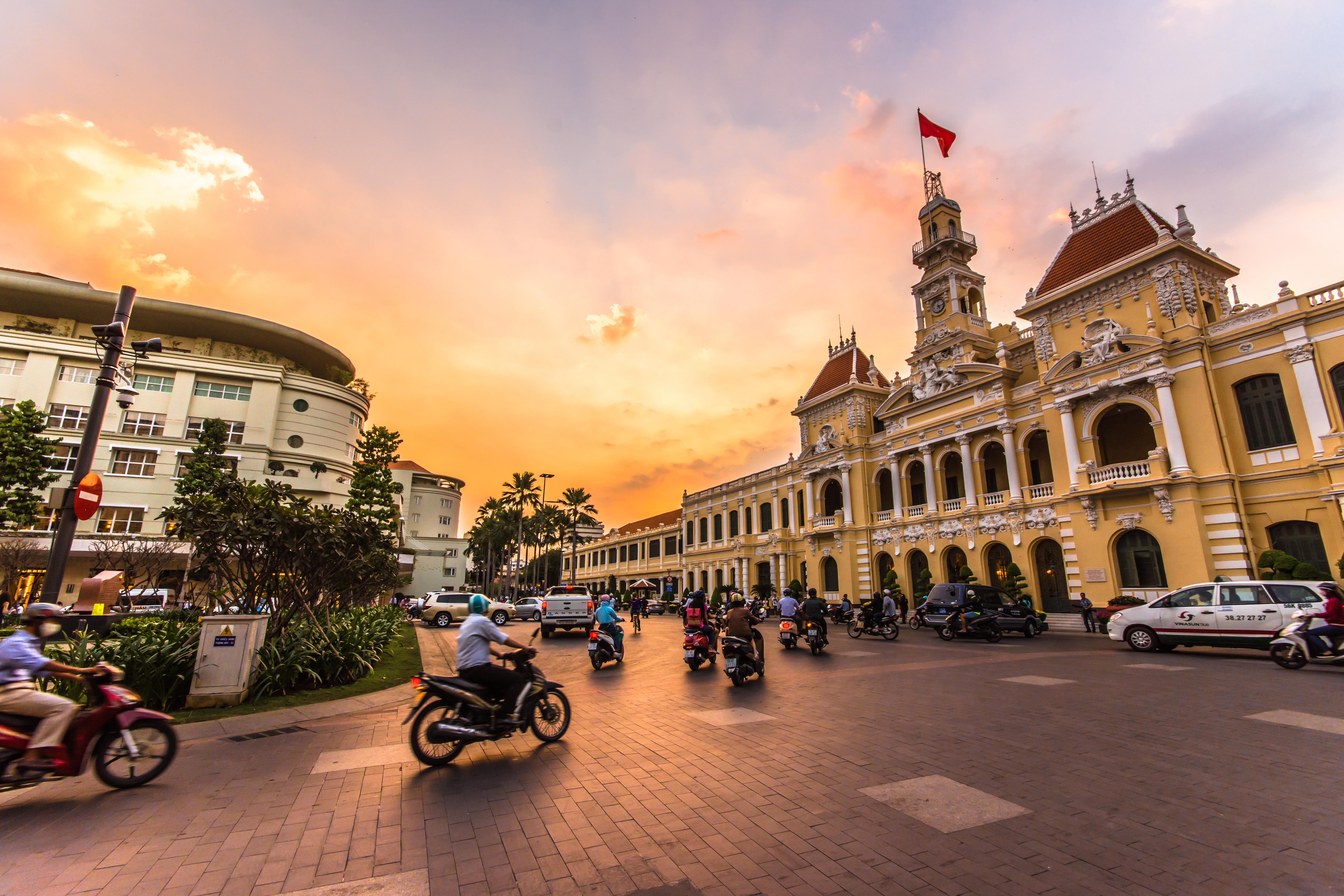 Ho Chi Minh City Hall at twilight